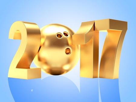 blue ball: 2017 New Year and golden bowling ball on blue background. 3D illustration Stock Photo