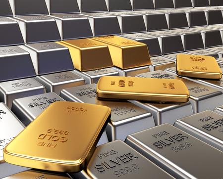Filas de plata y lingotes de oro. Negocios y antecedentes financieros. ilustración 3D Foto de archivo - 64520827