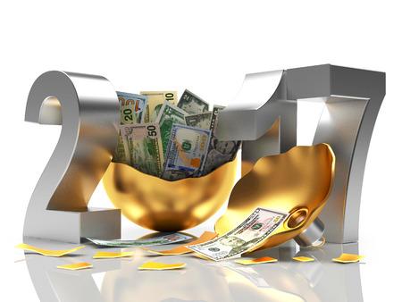 advent calendar: Silver 2017 New Year and golden broken Christmas ball full of dollar bills isolated on white background. 3D illustration