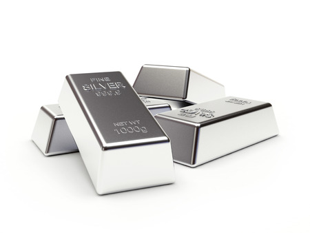 silver bars: Banking concept. Heap of silver bars isolated on a white background. 3D illustration. Stock Photo