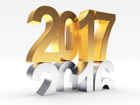 2017 New Year concept. Silver in 2016 changed to golden 2017. 3D illustration Stock Photo