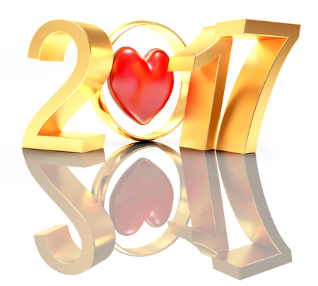 wedding ring: 2017 New Year and golden wedding ring with red heart on white with reflection. 3D illustration