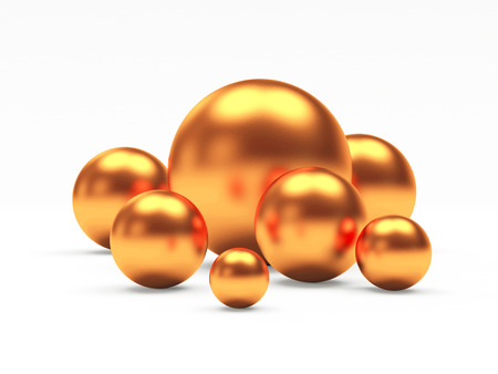 Group of bronze or copper shining spheres of different diameters. 3D illustration