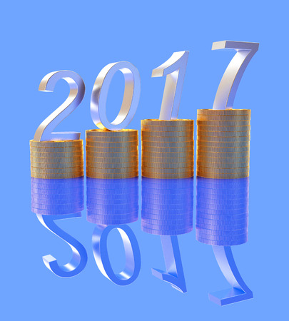 year increase: Graph with silver numbers 2017 New Year on stacks of golden coins on blue background with reflection. 3D illustration Stock Photo