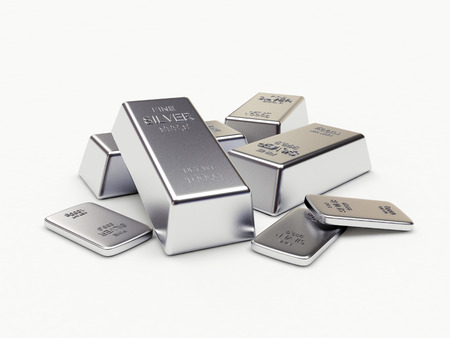 Banking concept. Heap of silver bars isolated on a white background. 3D illustration. Stock Photo