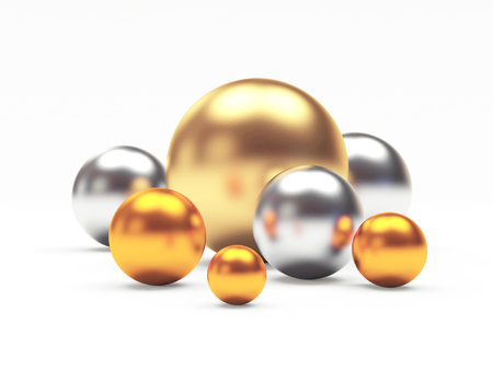 Group of shining golden, silver and bronze or cooper spheres of different diameters. 3D illustration Stock Photo
