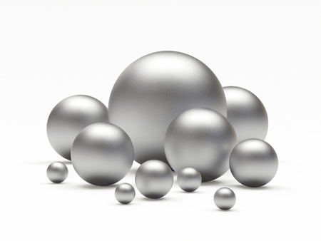 diameters: Group of silver spheres of different diameters. 3D illustration Stock Photo