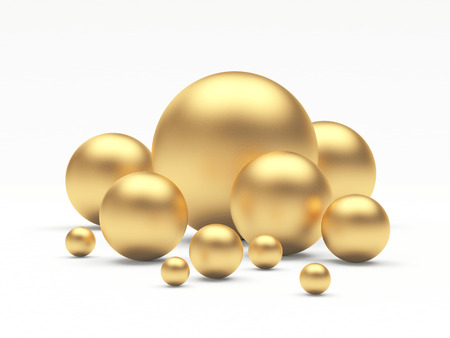 Group of golden spheres of different diameters. 3D illustration