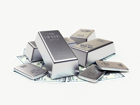 silver bars: Money and silver bars isolated on a white background. 3D illustration