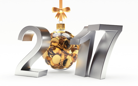 translucent: Silver 2017 New Year with transparent Christmas ball full of golden coins isolated on white background. 3D illustration Stock Photo
