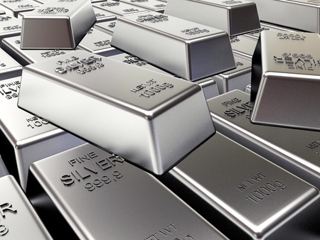 silver bars: Rows of silver bars. Business and financial background. 3D illustration
