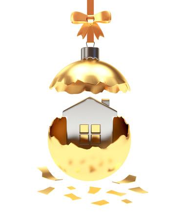 broken house: Broken golden Christmas ball with house inside on white background. 3D illustration Stock Photo
