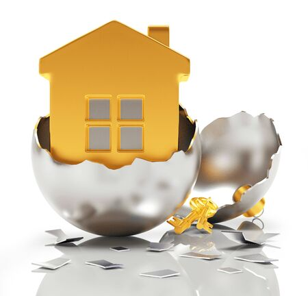 broken house: Broken silver Christmas ball with golden house inside on white background. 3D illustration Stock Photo