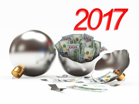 financial year: Whole and broken silver Christmas balls with dollar bills inside isolated on white background. 3D illustration Stock Photo