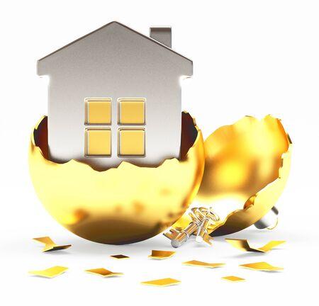 broken house: Broken golden Christmas ball with silver house inside on white background. 3D illustration