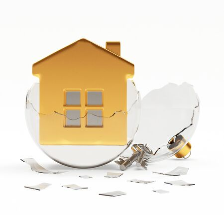broken house: Glass transparent Christmas ball with house in golden broken Christmas decoration. 3D illustration