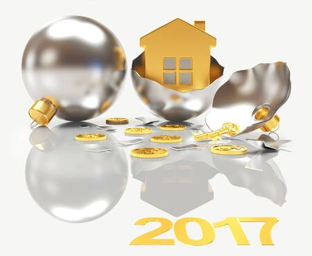 broken house: Whole and broken silver Christmas balls with house inside and reflection on white background. 3D illustration Stock Photo