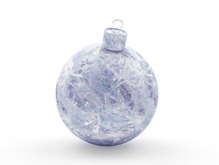 Christmas decoration. Frozen ice Christmas ball isolated on white background. 3D illustration Stock Photo