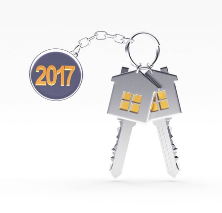 Set of silver keys and text in 2017 on metal label isolated on white background. 3D illustration