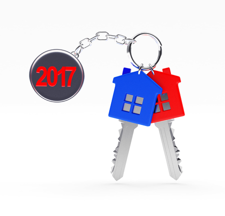 Set of red and blue keys with text 2017 on metal label isolated on white background. 3D illustration