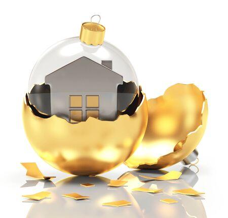 broken house: Broken glass Christmas ball with golden house inside isolated on white background. 3D illustration