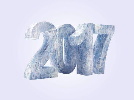 New Year 2017 ice figures isolated on white background. 3D illustration Stock Photo