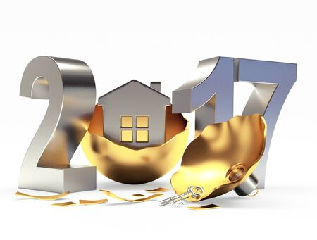 broken house: Silver 2017 New Year and broken golden Christmas ball with house on white background. 3D illustration