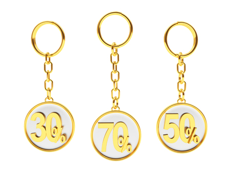Set of golden keychains with different percentages discount on white background. 3D illustration
