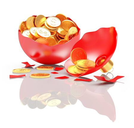 Broken red Christmas ball full of golden coins on white background with reflection. 3D illustration