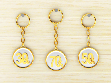 Set of golden keychains with different percentages discount is hanging on the wooden wall. 3d illustration Stock Photo