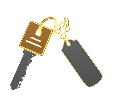 Golden key with blank metal label isolated on white background. 3D illustration