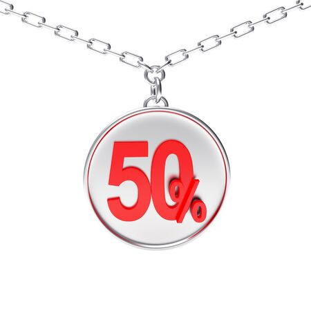 sellout: Discount concept. Silver round medallion on a chain with 50 percent isolated on white background. 3D illustration