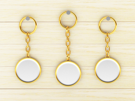 Set of blank round golden keychains is hanging on the wooden wall. 3d illustration