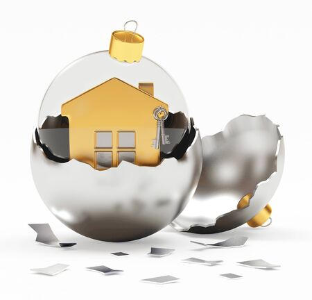 broken house: Glass transparent Christmas ball with house in silver broken Christmas decoration. 3D illustration