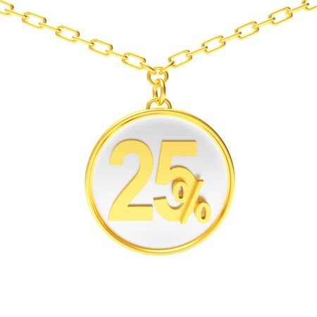 Discount concept. Golden round medallion on a chain with 25 percent isolated on white background. 3D illustration