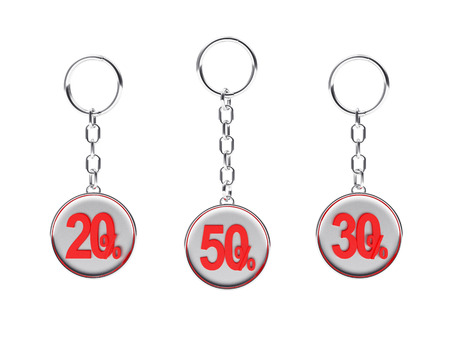 keychains: Set of silver keychains with red 20,30,50 percentages discount isolated on white background. 3D illustration Stock Photo
