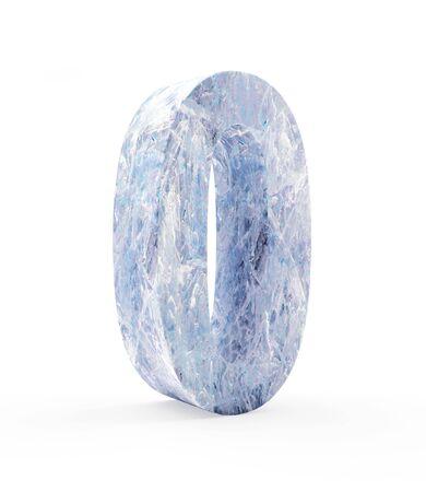 Ice number zero isolated on white background. 3D illustration Stock Photo