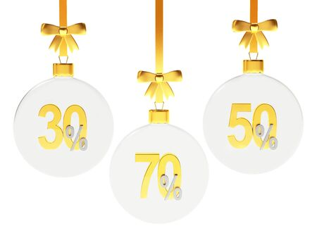 seventy: Discount concept. Set of glass Christmas balls with golden 30,50,70 percents inside isolated on white background. 3D illustration