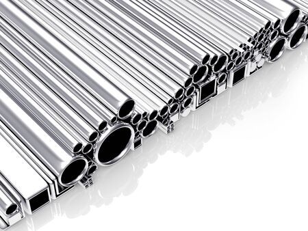 diameters: Round, square metal tubes and pipes of different diameters and shapes isolated on a white background. 3D illustration