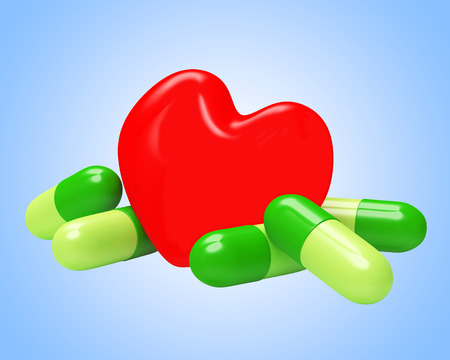Red heart and herbal green pills on blue. Prevention of heart disease. 3D illustration Stock Photo