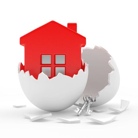 broken eggs: Red house in white broken egg shell isolated on white background. 3D illustration Stock Photo