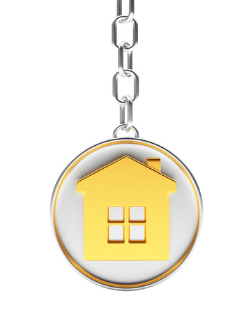 Round silver key chain with golden house icon isolated on white background. 3D illustration