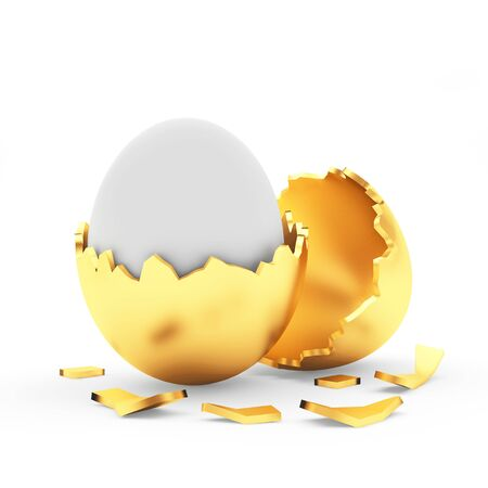 broken eggs: White Easter egg in a broken golden egg shell isolated on white background. 3D illustration