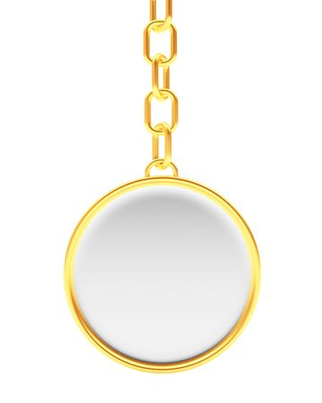 personal ornaments: Blank round golden key chain isolated on white background. 3D illustration