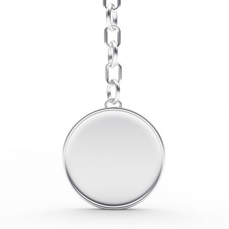 personal ornaments: Blank round silver key chain isolated on white background. 3D illustration