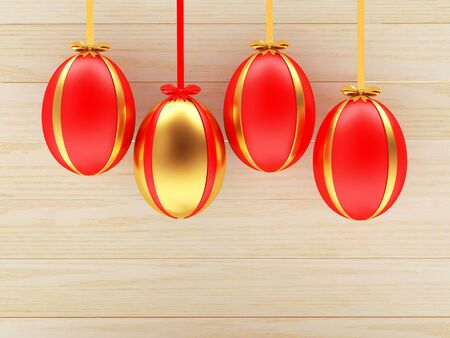 golden egg: Set of red Easter eggs and one golden egg hanging on ribbons on wooden background. 3D illustration Stock Photo