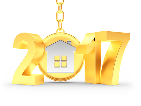 Real estate concept. 2017 New Year golden numbers and house on key chain on white background. 3D illustration