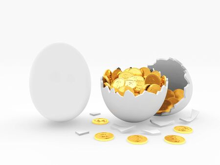 broken eggs: White egg and broken egg shell with golden coins isolated on white background. 3D illustration