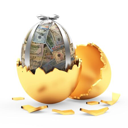 Glass Easter egg full of dollar bills in broken golden eggshell. 3D illustration