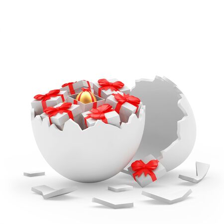 broken eggs: Broken white egg shall and gift boxes with golden Easter egg inside. 3D illustration